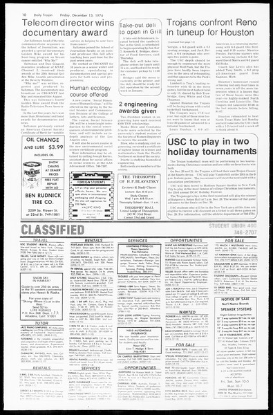Daily Trojan, Vol. 67, No. 58, December 13, 1974