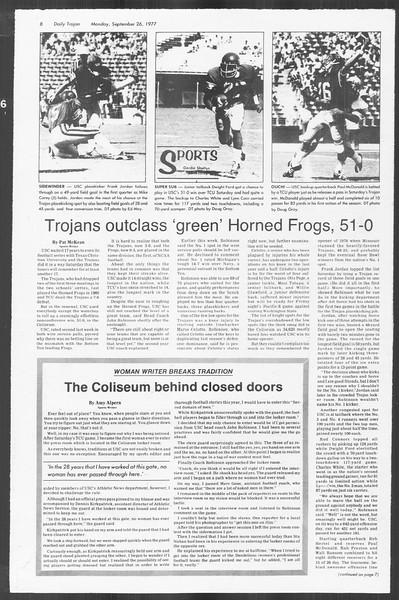 Daily Trojan, Vol. 72, No. 6, September 26, 1977