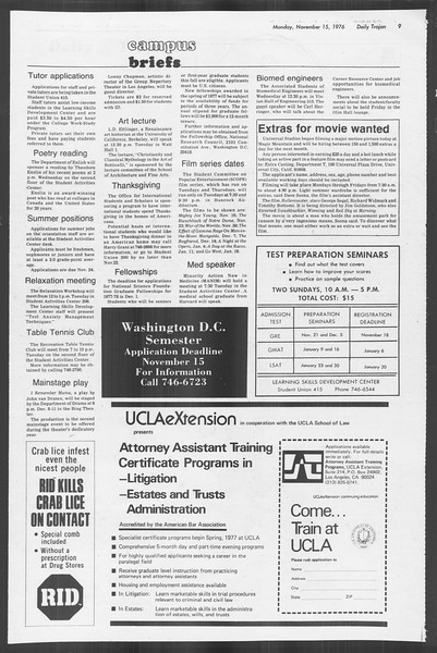 Daily Trojan, Vol. 70, No. 37, November 15, 1976