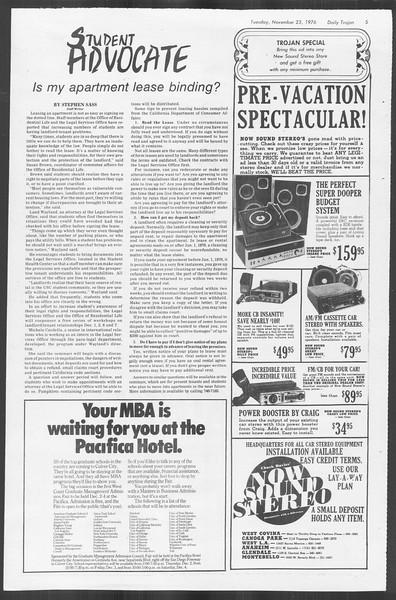 Daily Trojan, Vol. 70, No. 43, November 23, 1976