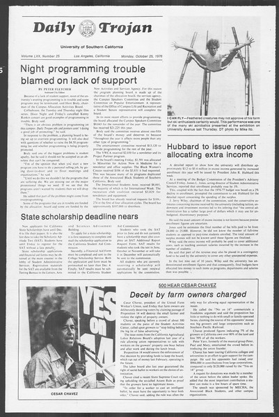 Daily Trojan, Vol. 70, No. 25, October 25, 1976