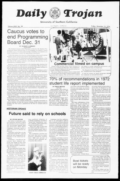 Daily Trojan, Vol. 67, No. 58, December 13, 1974