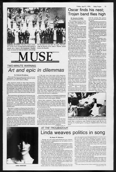 Daily Trojan, Vol. 68, No. 107, April 02, 1976