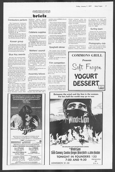 Daily Trojan, Vol. 70, No. 59, January 07, 1977
