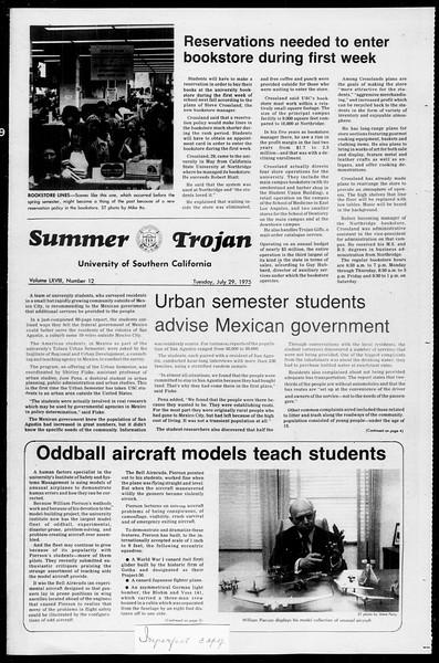 Summer Trojan, Vol. 68, No. 12, July 29, 1975