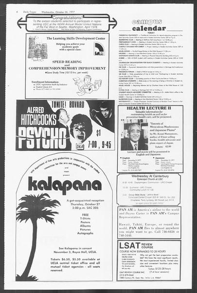 Daily Trojan, Vol. 72, No. 27, October 26, 1977