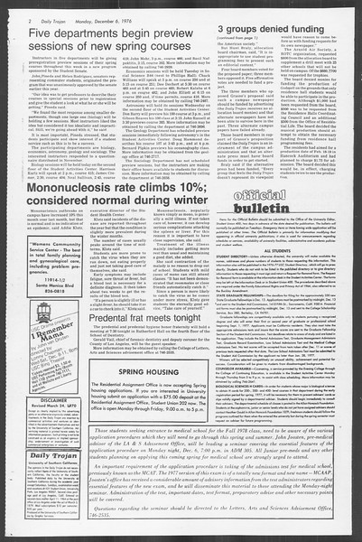 Daily Trojan, Vol. 70, No. 48, December 06, 1976