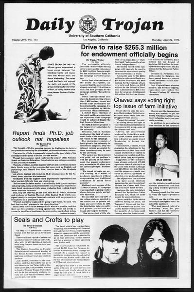 Daily Trojan, Vol. 68, No. 114, April 22, 1976