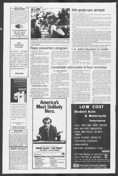 Daily Trojan, Vol. 70, No. 29, October 29, 1976