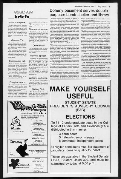 Daily Trojan, Vol. 68, No. 105, March 31, 1976