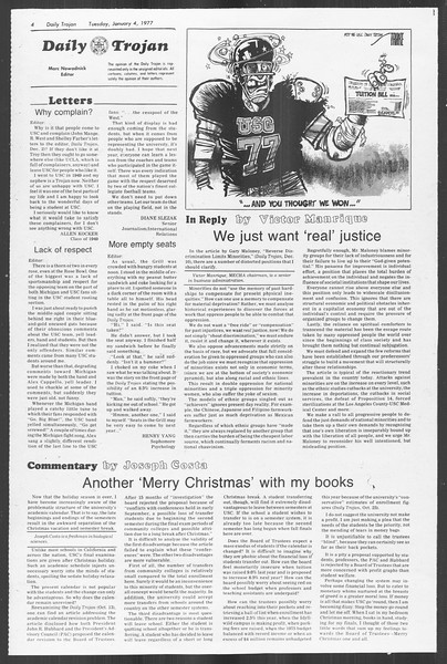 Daily Trojan, Vol. 70, No. 56, January 04, 1977