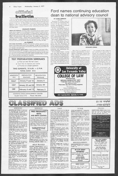 Daily Trojan, Vol. 70, No. 57, January 05, 1977