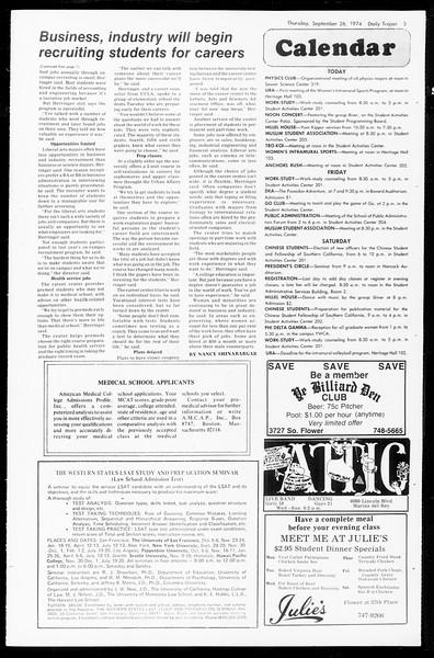 Daily Trojan, Vol. 67, No. 9, September 26, 1974