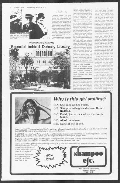 Summer Trojan, Vol. 72, No. 11, August 03, 1977