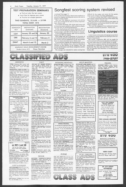 Daily Trojan, Vol. 70, No. 61, January 11, 1977