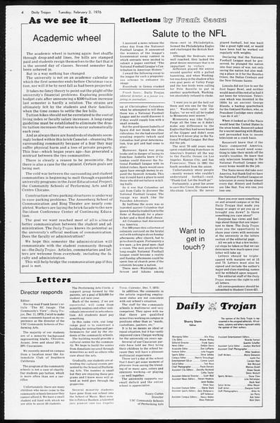 Daily Trojan, Vol. 68, No. 66, February 03, 1976