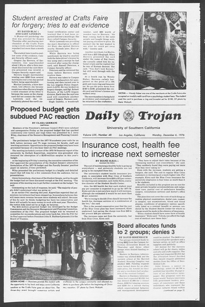 Daily Trojan, Vol. 70, No. 48, December 06, 1976