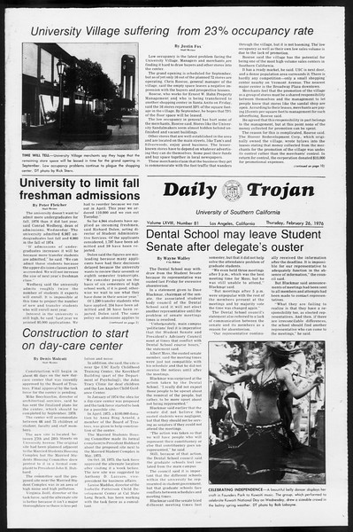 Daily Trojan, Vol. 68, No. 81, February 26, 1976