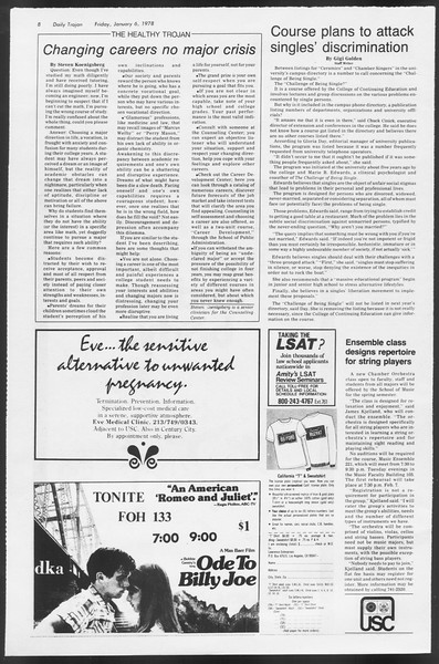 Daily Trojan, Vol. 72, No. 60, January 06, 1978