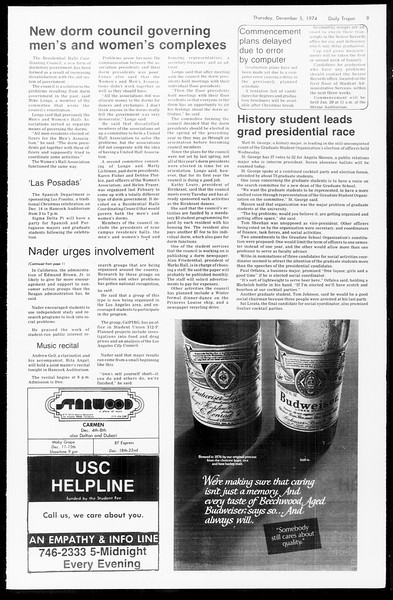 Daily Trojan, Vol. 67, No. 52, December 05, 1974