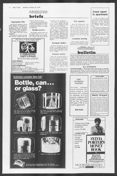 Daily Trojan, Vol. 70, No. 25, October 25, 1976