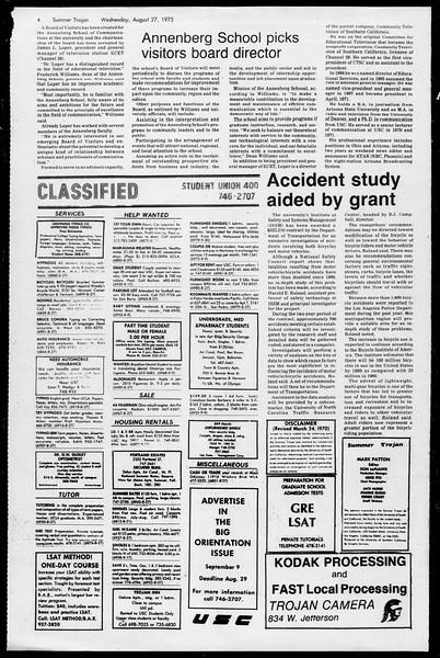 Summer Trojan, Vol. 68, No. 16, August 27, 1975