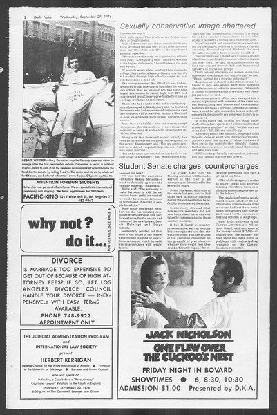 Daily Trojan, Vol. 70, No. 8, September 29, 1976