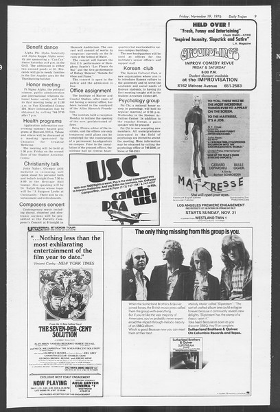 Daily Trojan, Vol. 70, No. 41, November 19, 1976