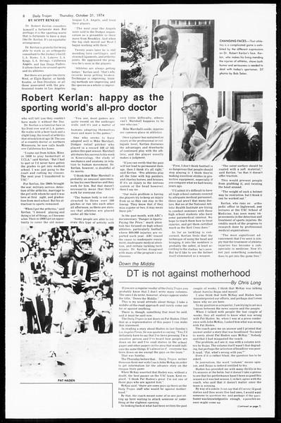 Daily Trojan, Vol. 67, No. 33, October 31, 1974