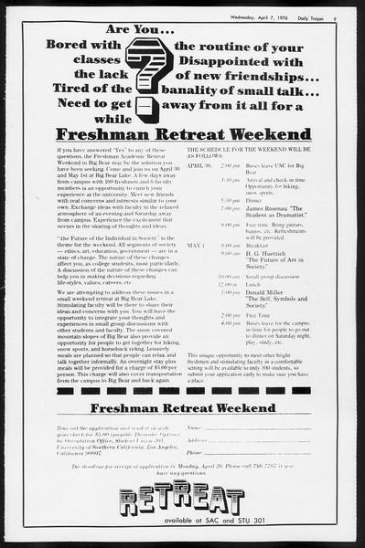 Daily Trojan, Vol. 68, No. 110, April 07, 1976