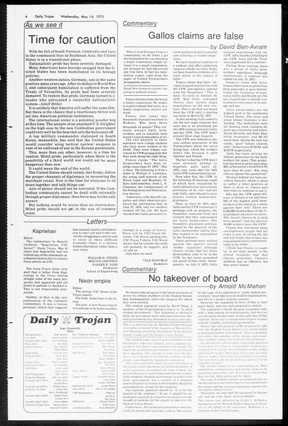 Daily Trojan, Vol. 67, No. 128, May 14, 1975