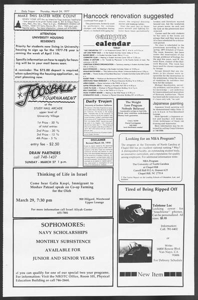 Daily Trojan, Vol. 71, No. 31, March 24, 1977