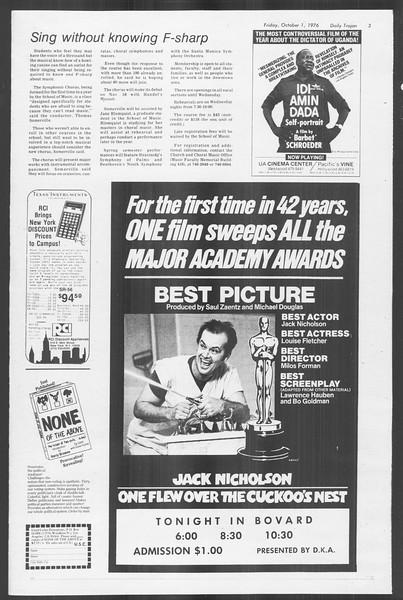 Daily Trojan, Vol. 70, No. 10, October 01, 1976