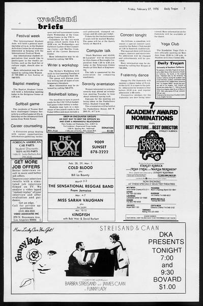 Daily Trojan, Vol. 68, No. 82, February 27, 1976