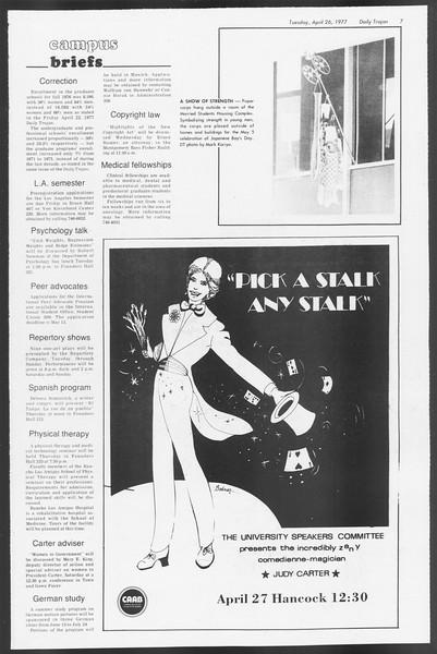 Daily Trojan, Vol. 71, No. 46, April 26, 1977