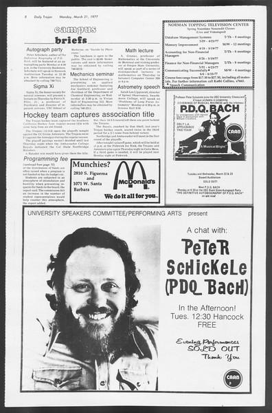 Daily Trojan, Vol. 71, No. 28, March 21, 1977