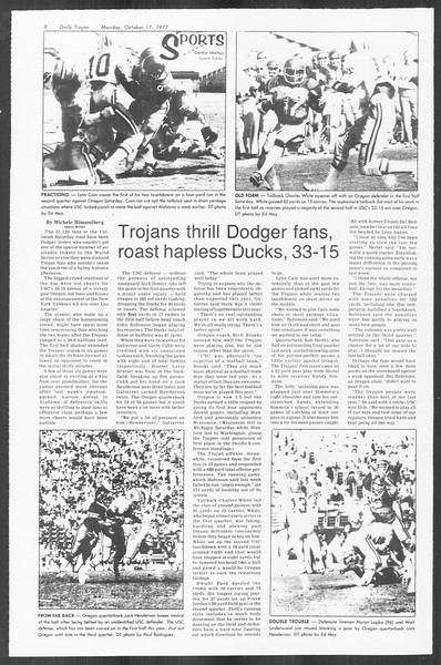 Daily Trojan, Vol. 72, No. 20, October 17, 1977