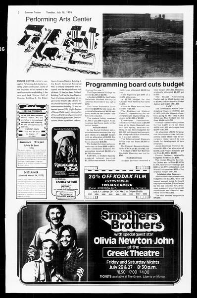 Summer Trojan, Vol. 67, No. 8, July 16, 1974