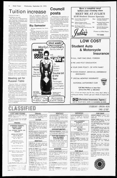 Daily Trojan, Vol. 67, No. 8, September 25, 1974