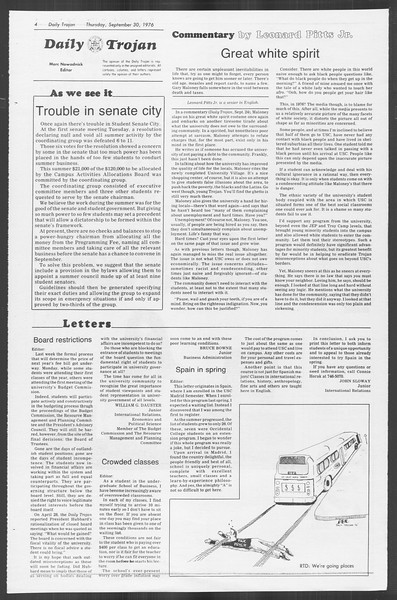 Daily Trojan, Vol. 70, No. 9, September 30, 1976
