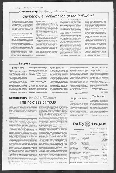 Daily Trojan, Vol. 70, No. 57, January 05, 1977
