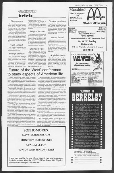Daily Trojan, Vol. 71, No. 23, March 14, 1977