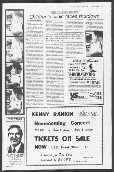 Daily Trojan, Vol. 70, No. 21, October 19, 1976