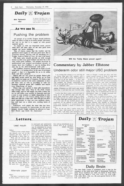 Daily Trojan, Vol. 70, No. 39, November 17, 1976