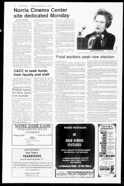Daily Trojan, Vol. 67, No. 49, November 26, 1974