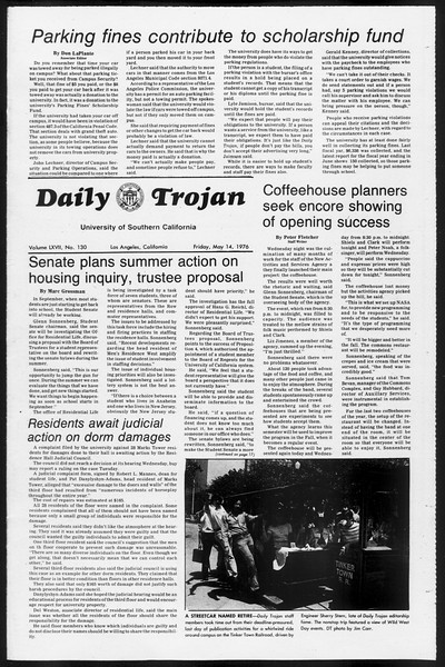 Daily Trojan, Vol. 68, No. 130, May 14, 1976