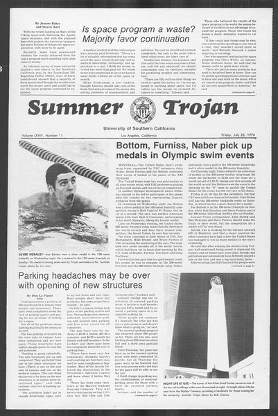 Summer Trojan, Vol. 69, No. 11, July 23, 1976