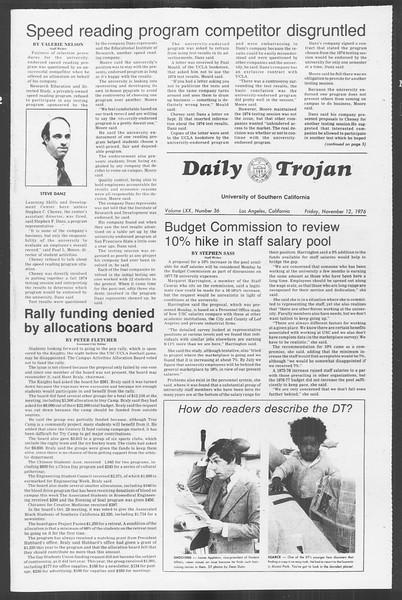 Daily Trojan, Vol. 70, No. 36, November 12, 1976