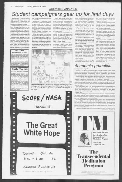 Daily Trojan, Vol. 70, No. 26, October 26, 1976