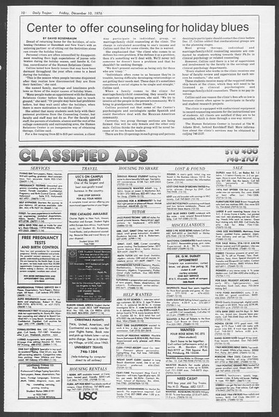 Daily Trojan, Vol. 70, No. 52, December 10, 1976